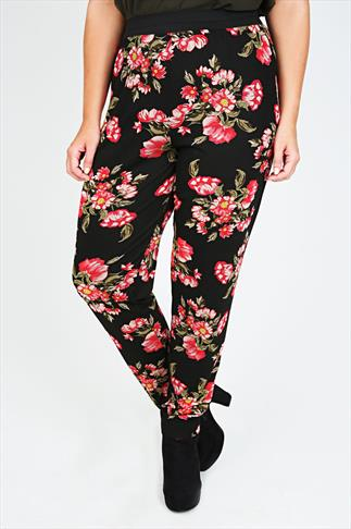 Black And Red Floral Print Harem Trousers
