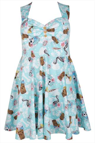 HELL BUNNY Mint & White Mixed Tropical Print 50's Style Dress