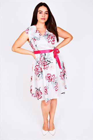Ivory & Pink Floral Print Sateen Prom Dress With Pink Waist Tie