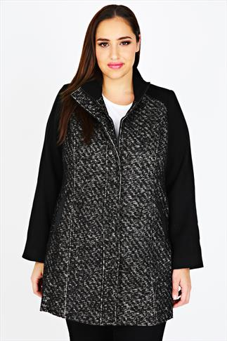 Grey and Black Tweed Coat with High Neck Collar