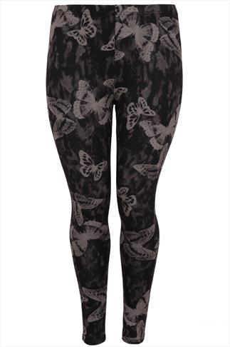 Black & Mocha Butterfly Print Glitter Stretch Jersey Leggings