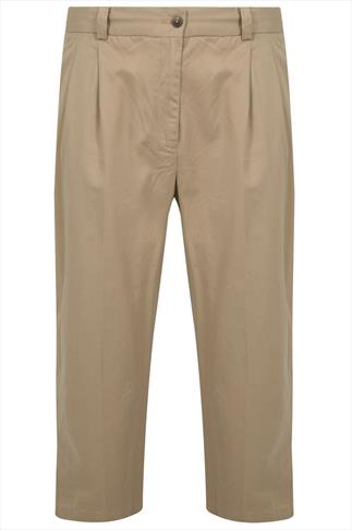 Beige Stretch Waist Chino Trousers With Pleats - TALL