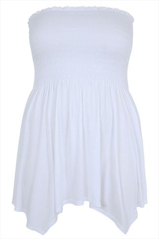 White Strapless Top With Hanky Hem