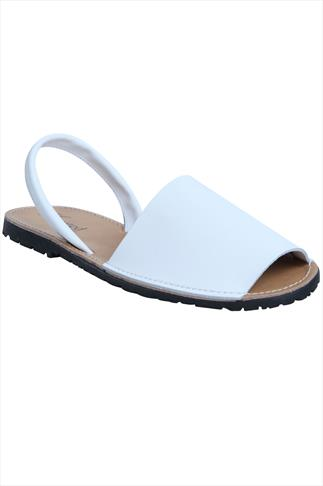 Real Leather White Peep Toe Sandals In E Fit