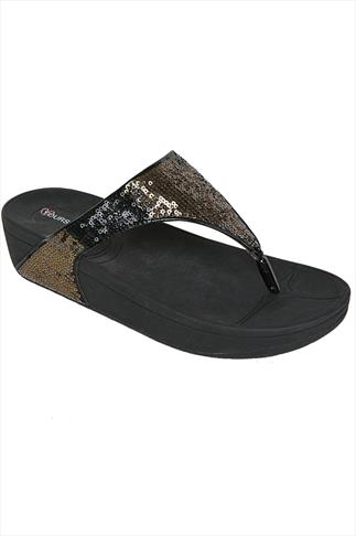 Black Chunky Toe Post Sandals With Sequin Detail In EEE Fit