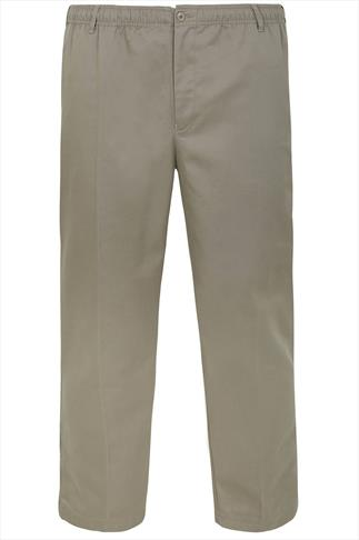 D555 Stone Draw Cord Trousers With Elasticated Waist - TALL