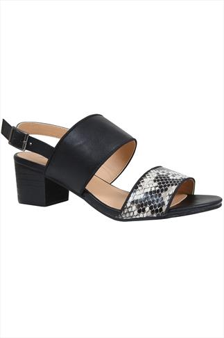 Black & Snake Effect Print Two Part Sandal With Block Heel In EEE Fit