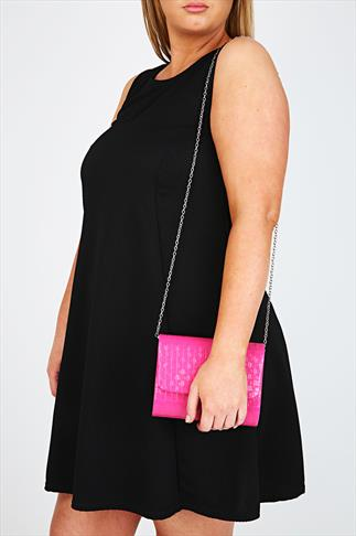 Pink Woven Clutch With Detachable Shoulder Chain