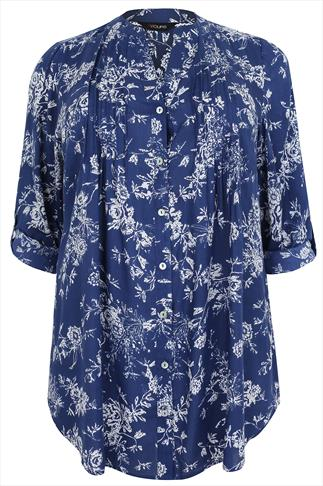 Blue & White Floral Print Pintuck Blouse