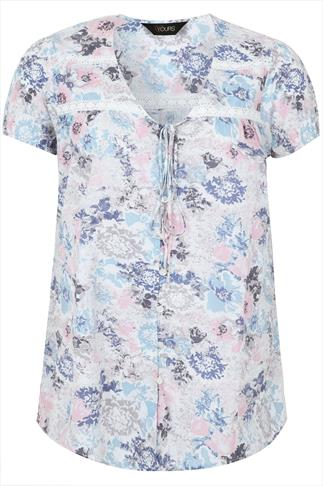 Pastel Button Front Short Sleeved Floral Blouse
