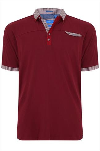 D555 Red Short Sleeve Polo Shirt With Contrast Collar