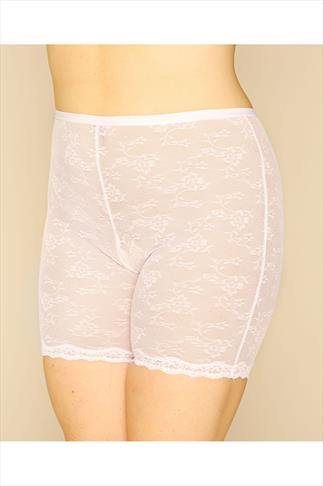 White Lace Mesh Thigh Slimmer 014302