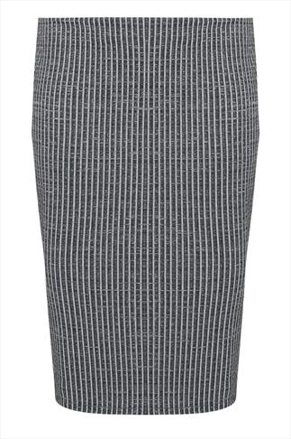 Grey Ribbed Tube Skirt With Side Slit