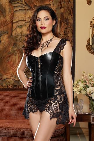 "DREAMGIRL Black ""Beyoncé"" Corset & Thong Set With Lace 051005"