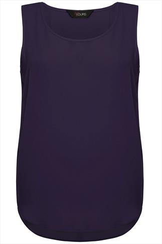 Dark Purple Sleeveless Top With Curved Dipped Hem
