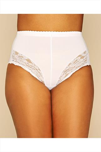Briefs Knickers White Light Tummy Control Shaper Brief With Lace Detail 014259