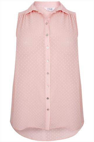 Pastel Peach Flock Dot Sleeveless Chiffon Shirt