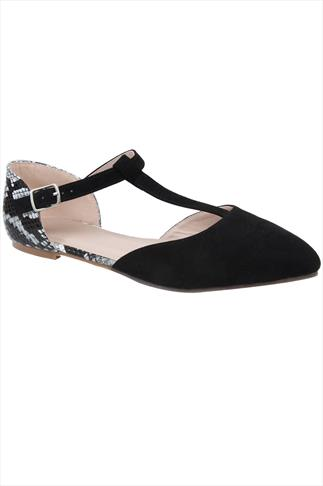 Black Snake Print Ankle Strap Pointed Toe Shoe In E Fit