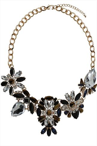Navy Floral Stone Embellished Statement Necklace