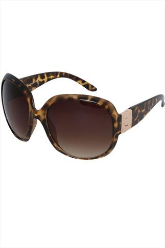 Brown Tortoise Frame Sunglasses With Gold Hinge