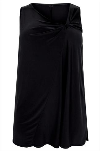 Black Sleeveless Twist Detail Front Top