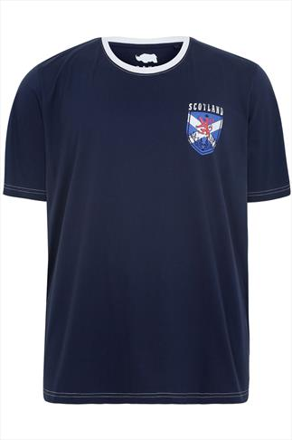 BadRhino Navy Short Sleeve T-Shirt With Scotland Emblem