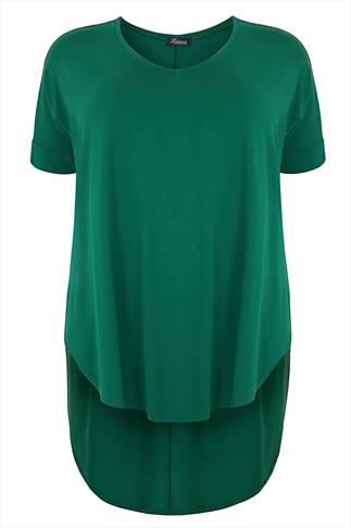 Green Oversized V-Neck Top With Extreme Dipped Hem
