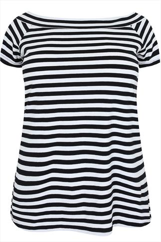 Black And White Striped Jersey Bardot Top With Short Sleeves