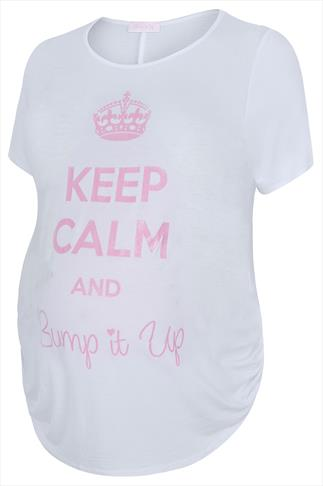 "BUMP IT UP MATERNITY White Top With Pink Glitter ""Keep Calm"" Print"