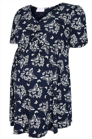 BUMP IT UP MATERNITY Navy & White Butterfly Print Top With Waist Tie