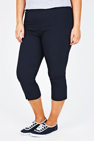 Navy Pull On Stretch Bengalin Cropped Trousers
