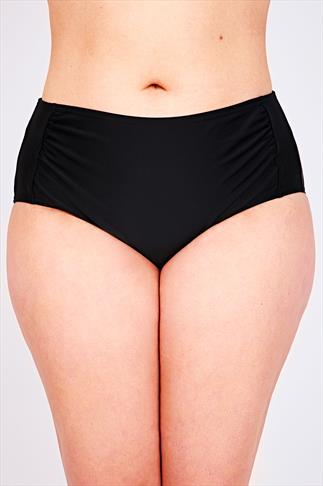 Bikinis & Tankinis Black Ruched Side Waist Bikini Brief 055381