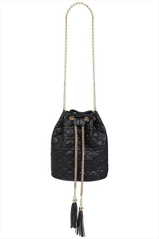 Black Quilted PU Bucket Bag With Tassel Detail