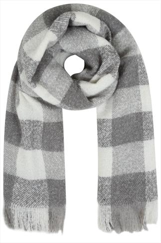 Grey and White Check Blanket Scarf