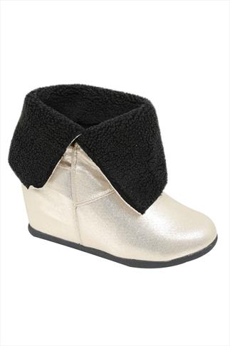 Gold & Black Fold Over Wedge Boots In EEE Fit
