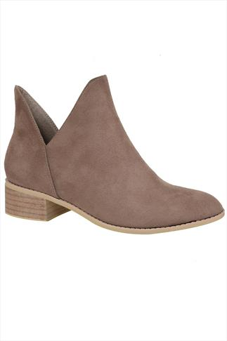 Taupe Suedette Low Heeled Ankle Boots With Cut Out In E Fit