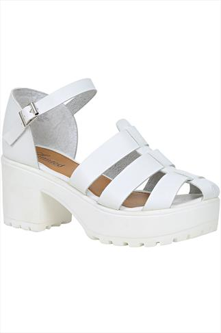 White Platform Gladiator Sandals In E Fit