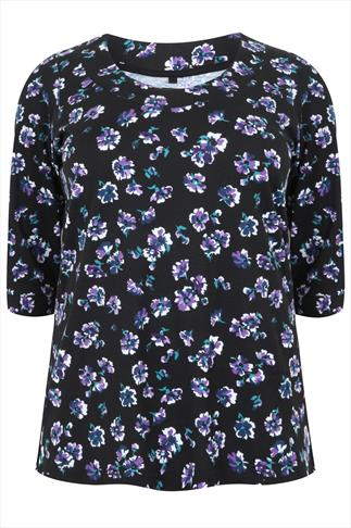 Black & Purple Floral Print Scoop Neckline T-shirt With 3/4 Sleeves