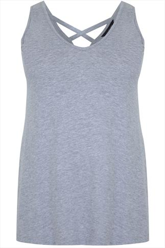 Grey Marl V-neck Vest With Cross Back