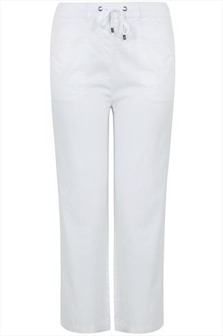 White Linen Mix Full Length Trousers With Four Pockets 28""