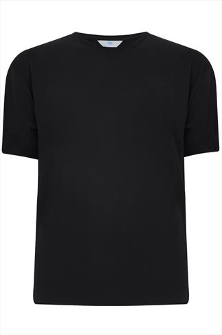 BadRhino Black Basic Plain V-Neck T-Shirt
