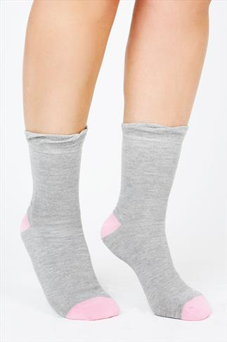 4 PACK Grey & Pastel Heel And Toe Socks In Extra Wide Fit