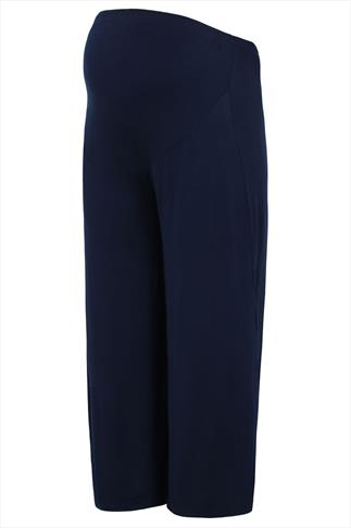 BUMP IT UP MATERNITY Navy Palazzo Trousers With Comfort Panel