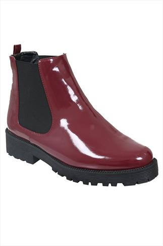 Burgundy Patent Chelsea Boots With Chunky Soles In EEE Fit