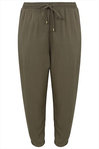 Khaki Harem Trousers With Side Pockets