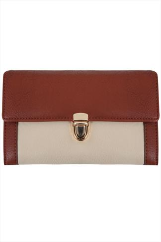 Tan Colour Block Clasp Purse
