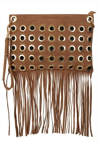 Tan Tassle Bag With Detachable Strap