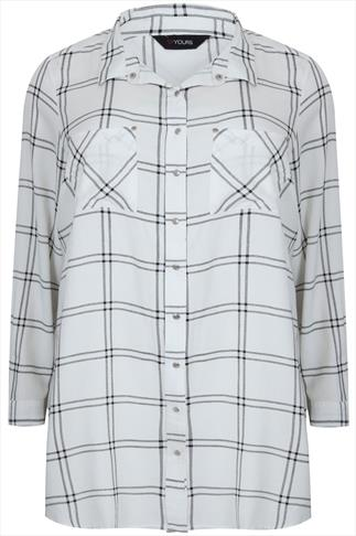 Ivory & Black Checked Popper Button Boyfriend Shirt With Pockets