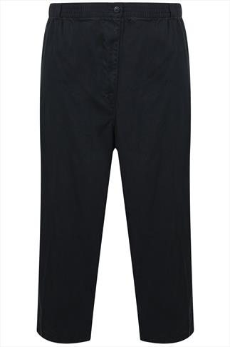 Black Elasticated Waist Chino Trousers With Pockets