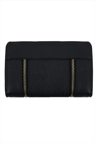 Black Textured Zip Detail Purse 057265